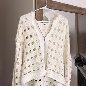 White Free People Zip Up Sweater